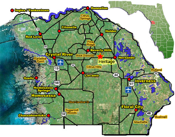 Citrus County Florida Map.Heritage Active Adult Community In Citrus County Florida Map And